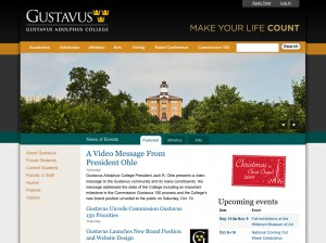A screenshot of the newly renovated Gustavus website, a part of the re-branding of the College.