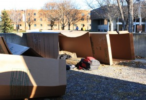 Students in the Homelessness in America FTS class spend three days living homeless in cardboard boxes and in Christ Chapel. Sarah Cartwright.