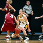 Senior Brianna Radtke defends against a St. Benedict's player in the Gusties 66-63 win. Sports Information.