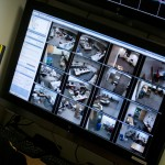 A monitor in the Campus Safety office shows many of the live video feeds from cameras around campus. Jen Wahl.