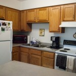 The kitchens in on-campus apartments are one of the reasons certain rooms require surcharges. Ambyr Pruitt.