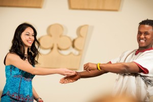 Students Bushra Wahid '13 Muresuk Mena '13 and enjoy dancing during Africa Night in 2012. Marketing and Communication