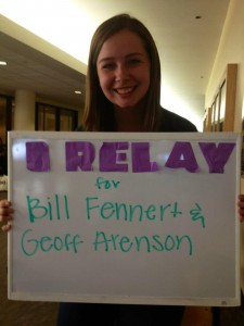 Junior Maggie Carlson knows others who suffer from cancer and shows her reasons to relay this year. Submitted