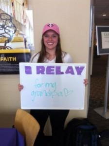 Sophomore Heidi Ide relays for her family, who has a long history of cancer and for her grandpa, who passed away. Submitted