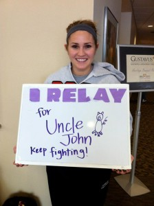 Junior Caitlin Bonde relays for a family member who suffers from cancer Submitted