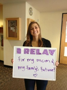 Junior Hallee Adamsheck, team captain for her team and previous top individual fundraiser for Relay For Life, shows support for her mother lost to cancer and urges others to relay as well.  Submitted