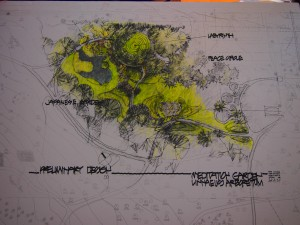 Landscape Architect Herb Baldwin created a sketch of the Meditation Gardens to be located on the prairie biome of the Linnaeus Arboretum. Steph Long