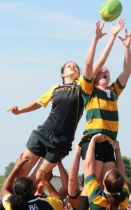 "Pia plays the position of the ""hooker"" on the women's rugby team, which is the only Division II team on campus. Submitted"