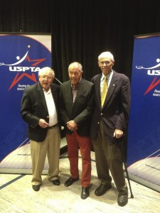 (From left to right) Vic Braden, Nick Bollettien, and Steve Wilkinson were all inducted into the USPTA Hall of Fame. Submitted