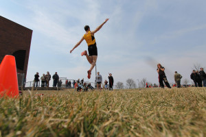 One of the track and field teams's standout performers is Senior Cameron Clause. On Saturday, Clause finished first in the pole vault and long jump (pictured) and took second place in the javelin throw. Gustavus Sports Information