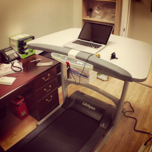 Treadmill desks are gaining popularity with those who want to walk at a slow to moderate pace while working at their desk to combat the effects of sitting all day. Creative Commons