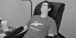 Student Mike Sterling enjoying the Relaxation Room's new massage chair. McKayla Murphy