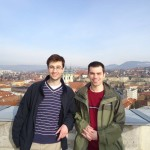 Hanson (right) took a break from his studies to enjoy the scenery in Budapest, Hungary.