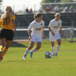 Maddison Ackiss charges forward against Concordia College. Accompanied by Brittany Chase on the attack, the Alaska-born Junior will hope to repeat her goalscoring exploits