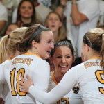 First-year setter Nora Holtan celebrates with her teammates. Holtan has had an incredible rookie season. Last week, she was inducted to the All-Conference team and named the MIAC-Rookie-of-the-Year. Prior to those individual honors, she had already been named the MIAC-Setter-of-the-Week twice throughout the season.