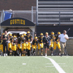 Coach Haugen showcases his speed as he leads his team out of the tunnel. He received the MIAC Football Coach-of-the-Year award after his team posted a 7-3 record (5-3 MIAC). Haugen just wrapped up his seventh season as head coach of the Gusties, and previously was the head coach of Washburn High School in Minneapolis for fifteen years. He was a three-sport athlete at Bethel.