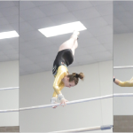 Three Gustavus gymnasts showcase some high flying antics on the bars at the Third Annual Alumni Meet on Nov. 21. Alex Kopp (left) ranked thirteenth all-around in the nation last year and this year aims to place in the top ten, as well as leading her team to win a meet and bring the program back to the glory days.