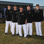 The new Gustavus baseball coaching staff includes, from left, Phillip Klaphake, Jeff Baker, Brad Baker, Dean Bowyer, and Matt Lewis. Not pictured: Bob Bresnahan.