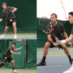 Clockwise from top left: Junior David Hagberg; Sophomores Tommy Entwistle (on right) and Zach Ekstein (left); and Sophomore Mohanad Alhouni. The Gustie men rebounded from a tough loss against No. 5 ranked University of Chicago to beat No. 37 ranked Kalamazoo.
