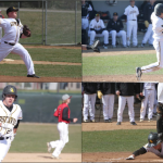 Clockwise from top right: Junior Kyle Pinke hurls a strike; Junior Daniel Carlson hits a bomb; Sophomore John Lundquist slides into home headfirst like Pete Rose; Freshman Matt Berkner showcases his superior baserunning skills for the rest of the team.
