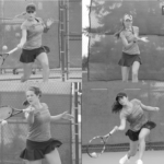 Strong consistent performances from the whole roster has been key for the Women's Tennis as they pursue a MIAC title. Clockwise from upper left: Junior Michaela Schulz, Senior Sid Dirks, First-year Briana Hartmann, and Sophomore Katie Aney.