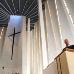Richard Aune, Dean of Admissions, speaks at the Convocation for new students and families in Christ Chapel.