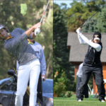 On left: Senior Sam Majka tees off on the tenth hole on Monday at Le Sueur Country Club in the Twin Cities Classic . On right: Junior Mackenzie Swenson's tee shot in the College City Challenge. The men took second at the Twin Cities Classic, and the Women came in fifth at the College City Challenge. Both teams are preparing for the MIAC Championships in October.