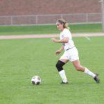 Sophomore Lauren Johnson controls the ball through the midfield.