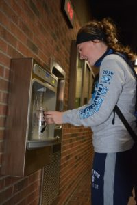 A visitor uses one of the refill stations in Lund Center.