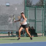 Sophomore Ginger Valentine competes at the Swanson Tennis Center Sept. 23. Valentine earned All-American status this past weekend by winning the Midwest Regional Championship match.