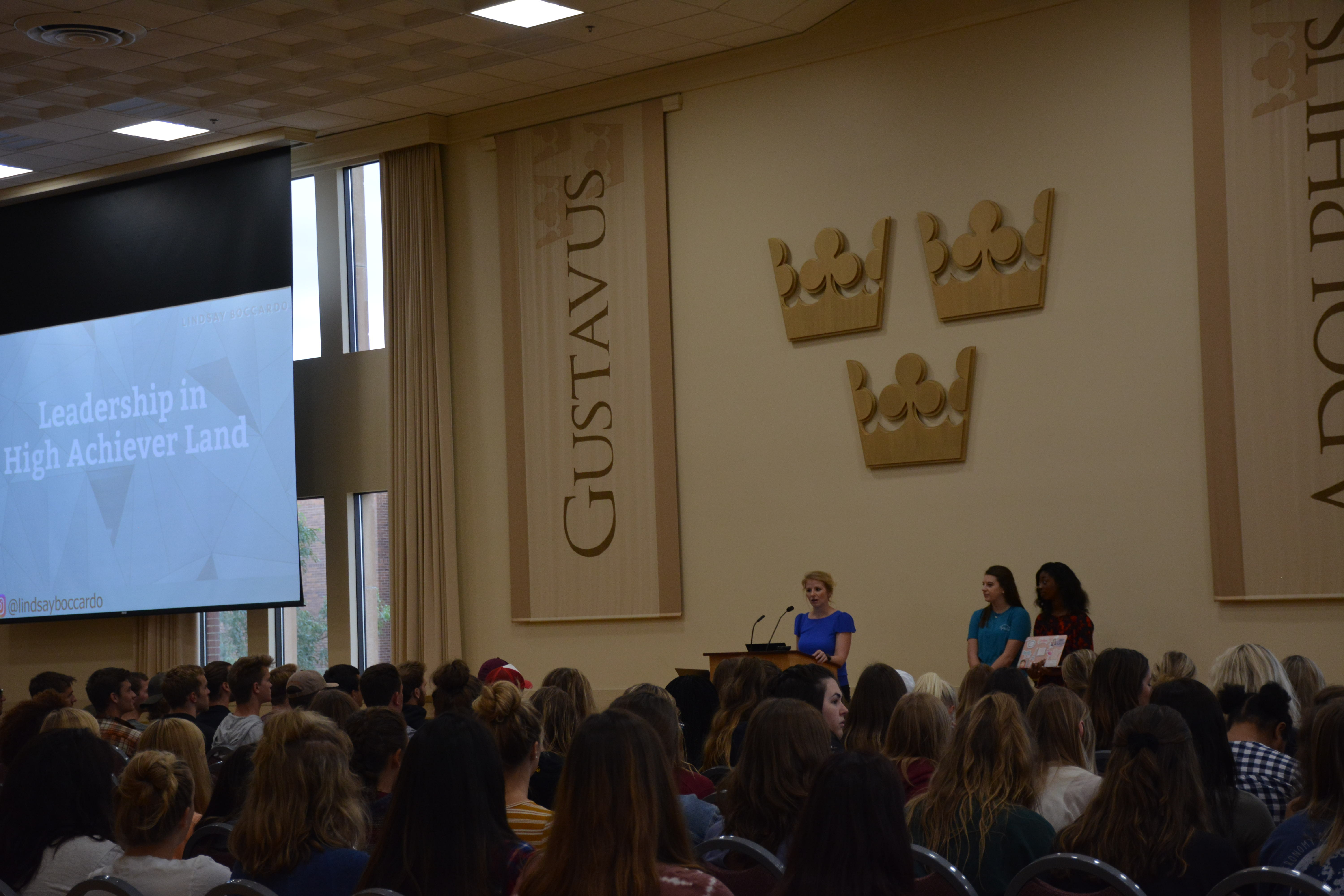 Greek life new member education night brought several to Alumni Hall.