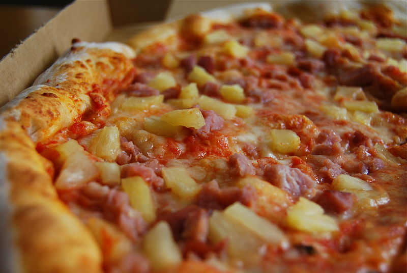 This pizza has been tainted by pineapple.