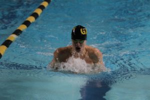 Senior Tanner Sonnek competes in the breaststroke during a meet last season.