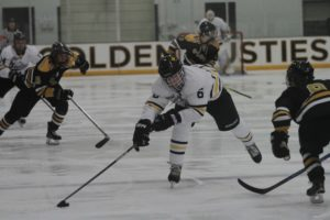 Sophomore Dominic Picciano keeps the puck from a St. Olaf defender during a game Nov. 2.