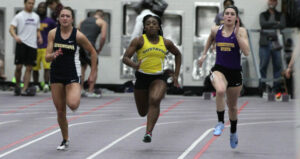 Junior Adonya Gray sprints her way to the finish line during a meet earlier this season.