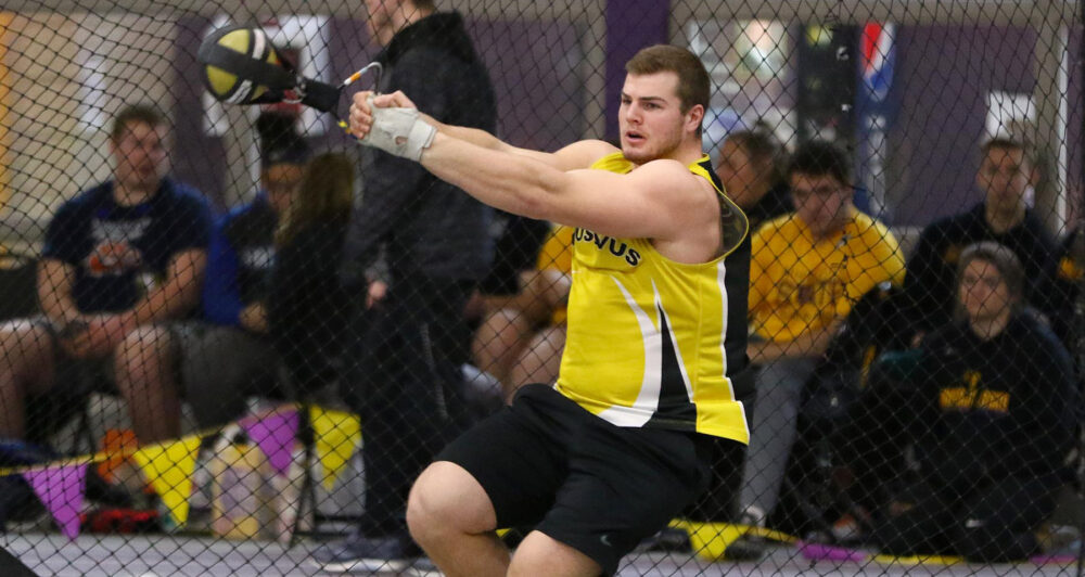 Senior Michael Hensch competes in the weight throw at the Maverick Invite this past weekend. He finished third with a distance of 59-4.75.