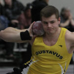 Junior Michael Hensch competes in shot put during a meet this season. Hensch was named All-Region in shot put and weight throw during the indoor season.