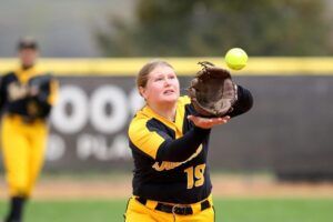 Senior Carly Onraet makes a catch for the Gusties during a game against Augsburg last weekend.
