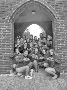 The Delta Phi Omega sorority posed for a photo.