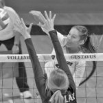 Junior Kate Holtan goes for a kill during a match against St. Olaf Sept. 26. The Gusties have split games so far this season, holding a record of 8-8.
