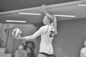 First-year Sydney Olson prepares to serve the ball for the Gusties.