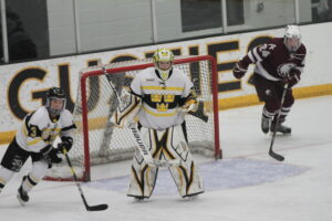 Sophomore Emilia Helms-Leslie defends the net for the Gusties.