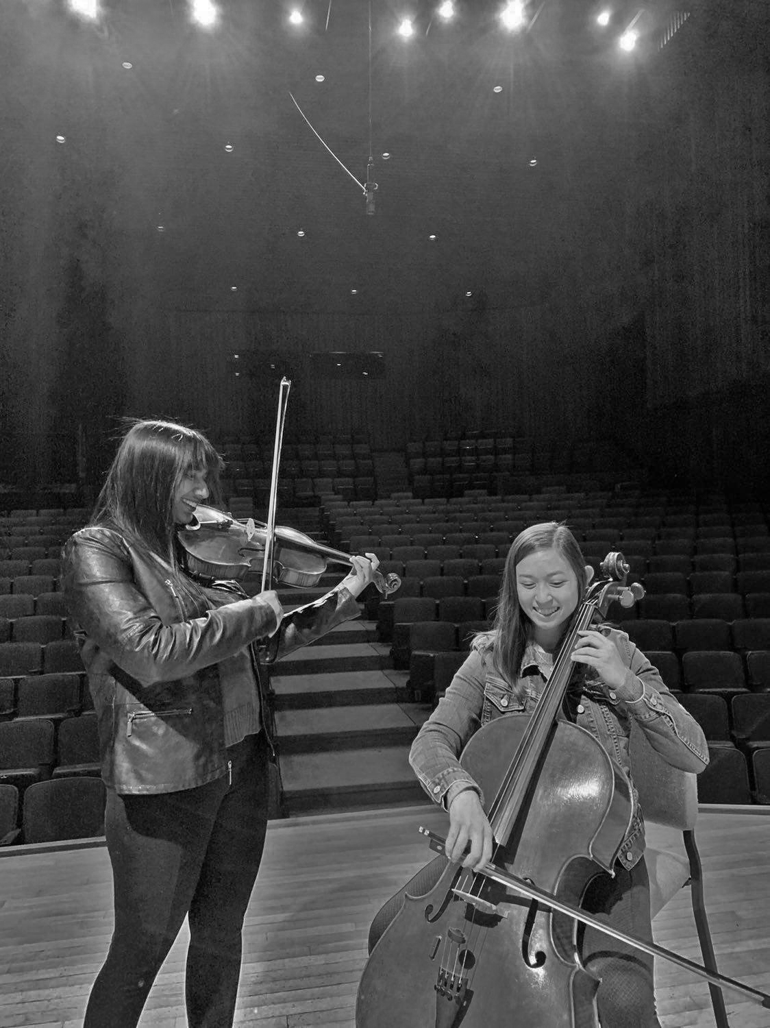 Lowe (left) and Yee (right) rehearse for their recital.