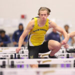 Junior Taylor Rooney competes in the 60 meter hurdles at the Mankato State University Invite. Rooney also recently competed at the USATF Indoor Championship meet