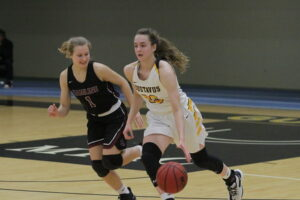 First-year Caitlin Rorman dribbles the ball up the court for the Gusties.