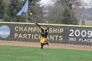 Senior Marissa Marsolek defends the outfield during a game last season.