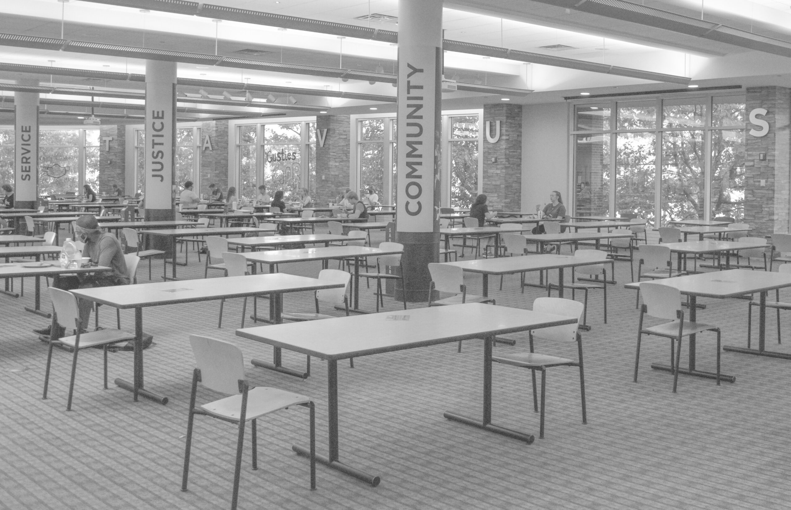 A glimpse of what the Caf will look like when students go home for break.