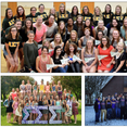 Greek organizations Alpha Sigma Tau (top), Sigma Sigma Sigma (bottom left) and Sigma Alpha Epsilon (bottom right) pose for group photos.