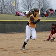 Sophomore Emily Webb runs to first base in a game against Hamline University. The team finished with a season record of 23-17 and a MIAC record of 10-12. The Gusties placed sixth in conference.