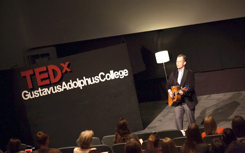 Assistant Director for Community-Based Service and Learning Dave Newell speaks at the first Gustavus TEDx Conference. Office of Marketing and Communications